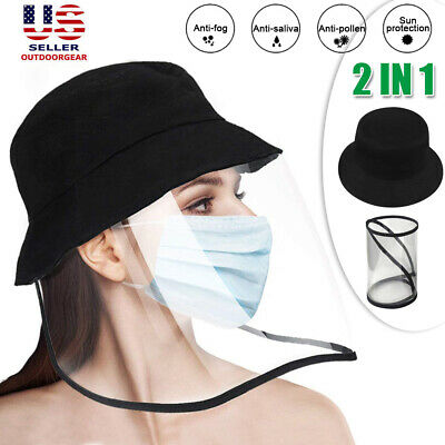 Fisherman Cap Anti Saliva Protective Bucket Hat Clear Face Shield Dustproof US