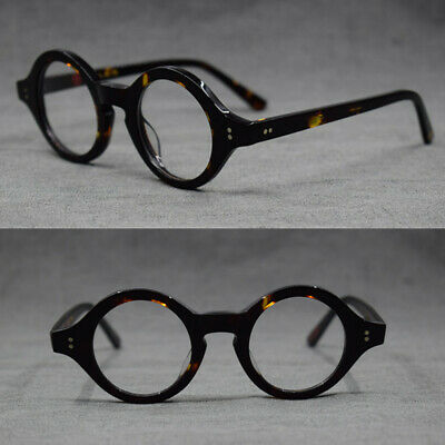 Hand Made Vintage small 38mm Round Eyeglass Frames Acetate unisex Optic (Handmade Optical Frames)