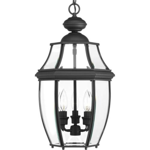 Progress Lighting New Haven Collection 3-Light Outdoor Black Hanging Lantern