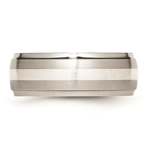 Stainless Steel Sterling Silver Inlay Ridged Edge Brushed And Polished Band - $56.40
