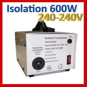 Isolation Transformer 600w 240v - 240v shipped from Sydney ISO-600ES Tortech