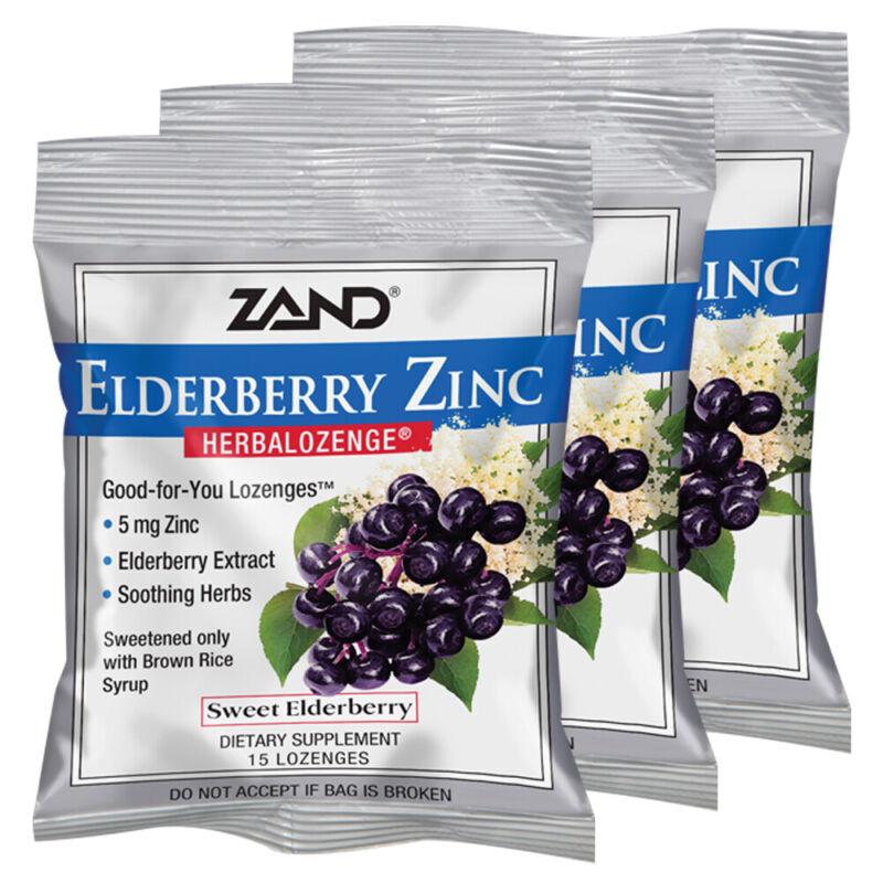 Zand HerbaLozenge Elderberry Zinc  |  15 Lozenges, 3 Bags