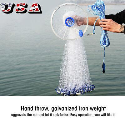 - 8FT /2.4M Fishing Cast Net Bait Easy Throw Hand Strong Nylon Mesh + Sinker US