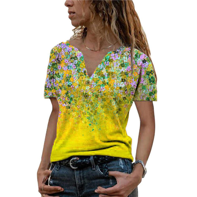 Women Printed V Neck T-Shirt Summer Holiday Beach Casual Tunic Tee Tops Blouse Clothing, Shoes & Accessories
