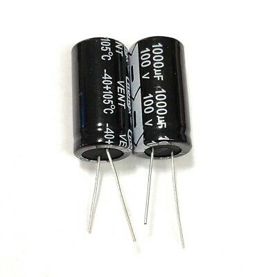 2pcs 100v 1000uf 100volt 1000mfd Electrolytic Capacitor 1835mm Radial