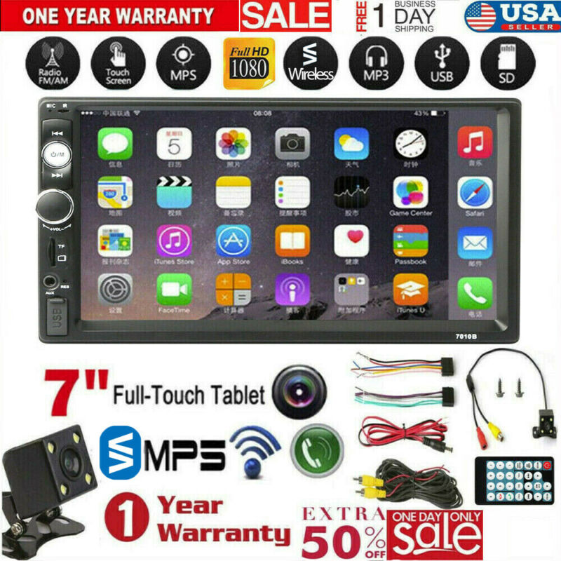 """7"""" 2 Din Mirror Link Car Touch Screen Wireless MP5 Player Stereo Radio W/Camera"""
