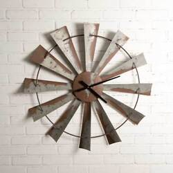 Country new Large hanging distressed tin WINDMILL wall clock