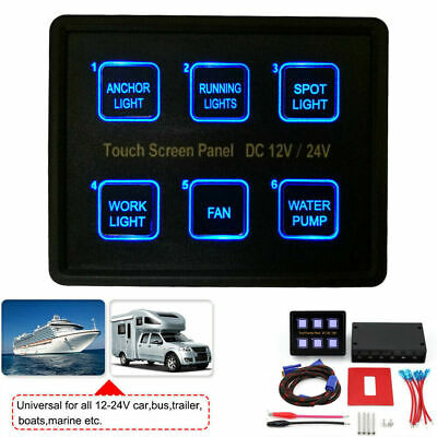 6-Gang LED Touch Screen Switch Panel Control Box Car Marine Boat RV 12V/24V USA