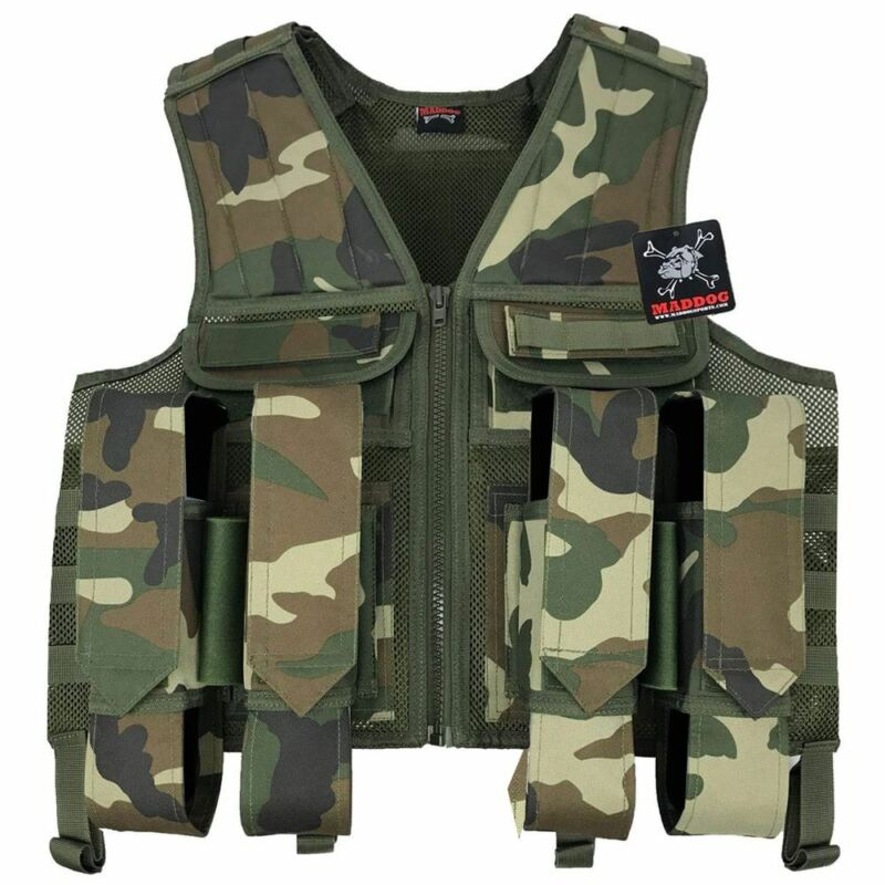 Maddog Tactical Paintball Battle Vest Woodland Camo Milsim
