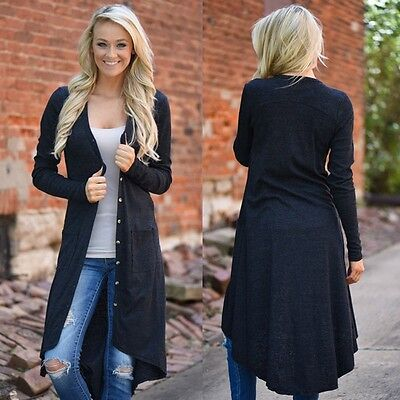 Women Spring Fall Loose Sweater Long Sleeve Knitted Cardigan Outwear Jacket Coat