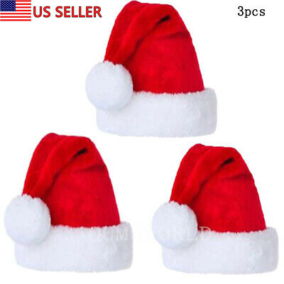 3 pcs Santa Hat Comfort Christmas Hats Adults Kids Winter Xmas Cap Classic Red  ()