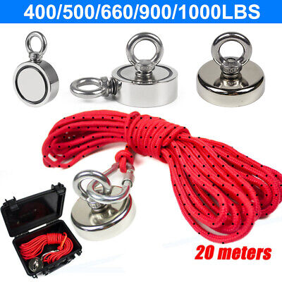 Up To 1000lbs Strong Fishing Magnet Kit Double Sided Pull Force Rope Carabiner