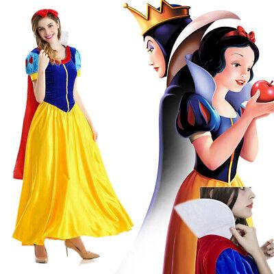 Princess Halloween Costumes Women (Snow White Women Costume Princess Dress w/Petticoat & Headband Halloween)