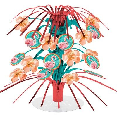 Island Oasis Mini Foil Centerpiece Cascade Summer Luau Pool Party Flamingos