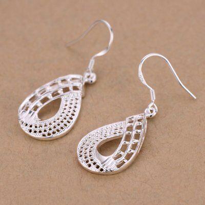 Silver Teardrop Earring Charm (Womens 925 Sterling Silver Hollow Teardrop Drop Dangle Charm Earrings)