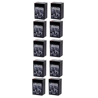UPG 10 Pack - Universal UB645-UPG UB645 / D5733 Sealed Lead Acid Battery 6V / 4.