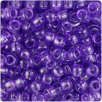 500 Purple Transparent 9x6mm Barrel Pony Beads Made in the USA by The Beadery ()