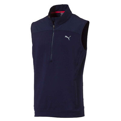 Golf Weste (Puma Herren PWRWarm Knit Weste Strickweste Golf Freizeit Vest Grau Blau Winter)