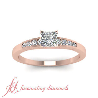 .90 Ct Princess Cut Diamond Channel Set Handmade Engagement Rings GIA Certified 1