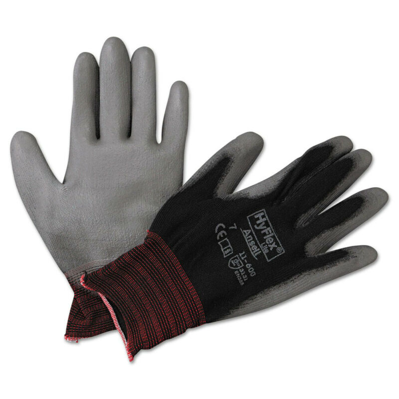 AnsellPro 116007BK HyFlex LD Industrial Gloves - Size 7, BLK/GRY (12 Pairs) New