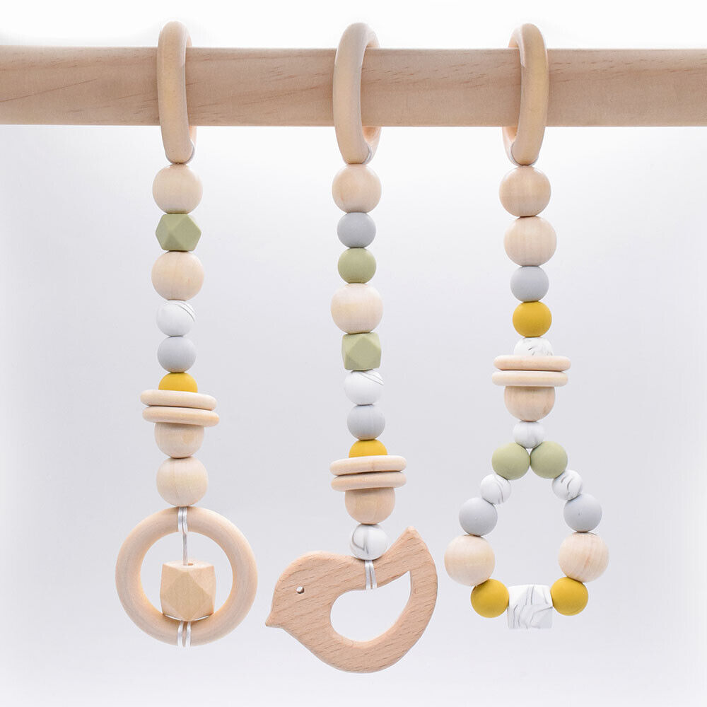 Wooden Animal Teether 4Pcs Baby Play Gym Pram Toys Chewy Silicone Teething Beads