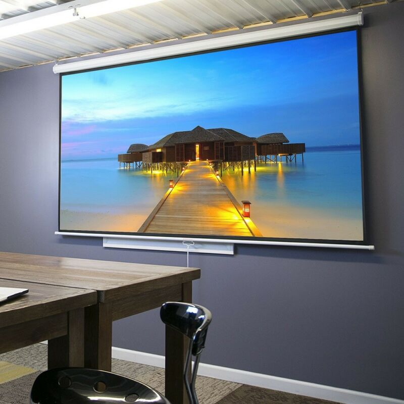 "100"" Diagonal 16:9 Projection Projector Screen HD Manual Pull Down Home Theater"