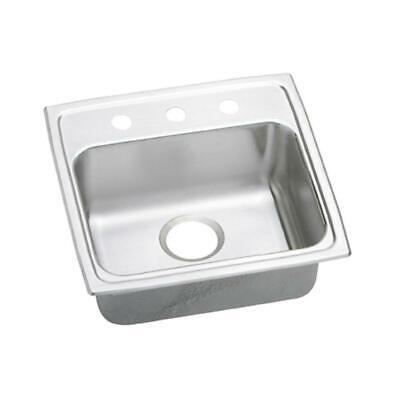 Elkay Lustertone Drop-In Stainless Steel 19 in. 3-Hole Single Bowl ADA Compliant Elkay Lustertone Ada Sink Bowl