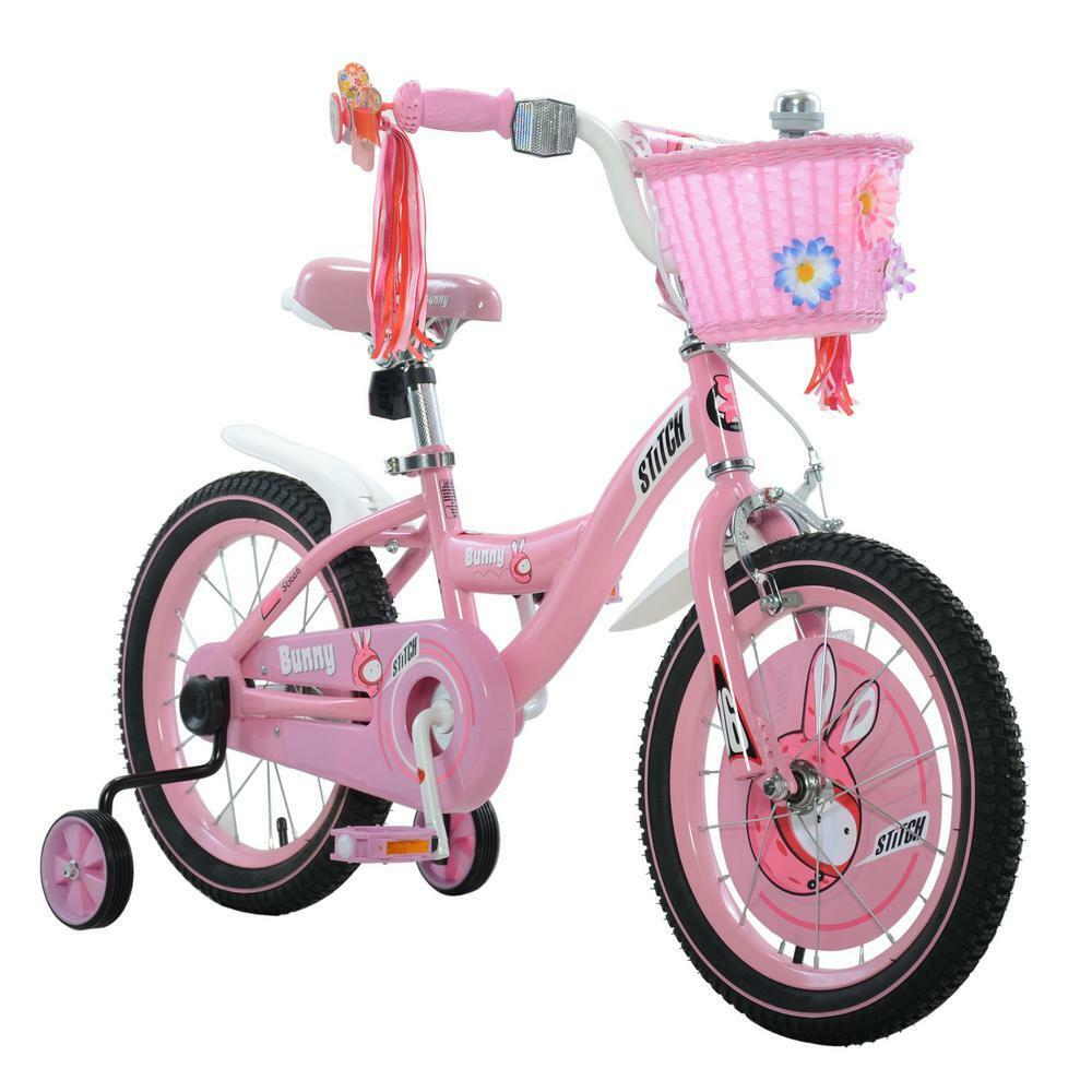 Pink/White 9 in. Steel Frame Bunny Girl's Bike with 16 in. Rubber Wheels
