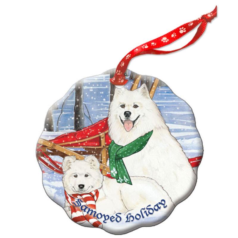 Samoyed Holiday Porcelain Christmas Tree Ornament