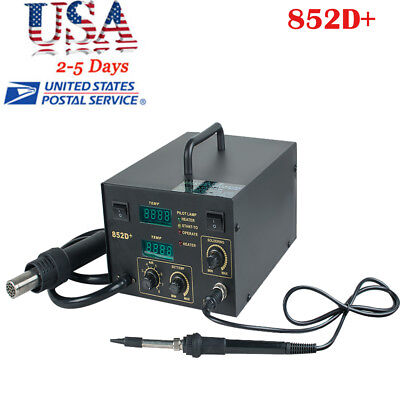 2 In 1 Soldering Rework Stations Smd Hot Air Iron Desoldering Welder Esd 852d