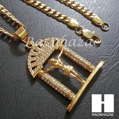 316L Stainless steel Gold Silver Jesus Heavy Pendant w/ 5mm Cuban Chain SG34 316l Steel Pendant Chain