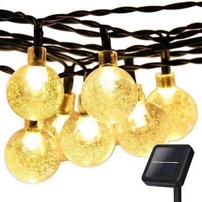 30LED 20FT Warm White Crystal Ball Solar String lights for Garden Wedding Party