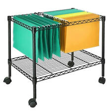 Mobile File Cart for Letter Size and Legal Size Folder, Sturdy Metal, Black