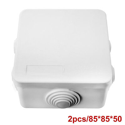 2pcs Waterproof Junction Box Plastic Electric Enclosure Case 85x85x50mm Hs602