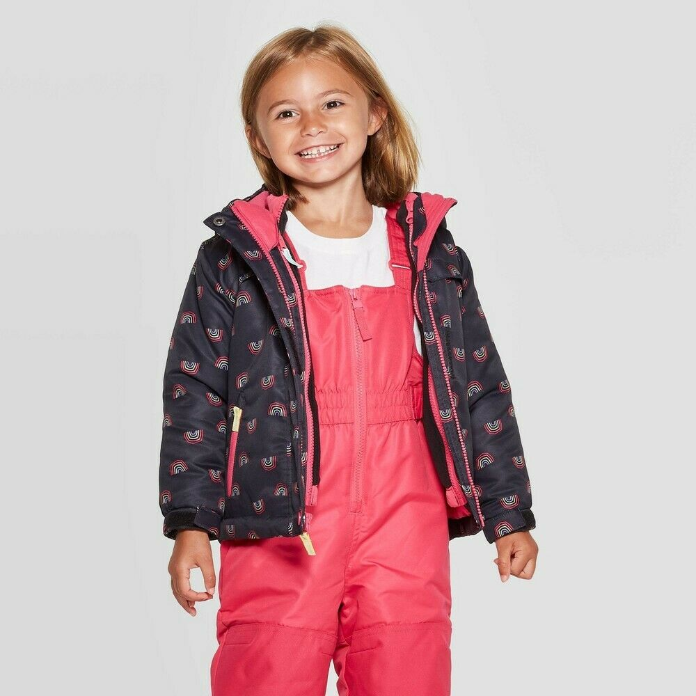 Toddler Girls' Rainbow Print 3-in-1 Jacket – Cat & Jack Black 3T Baby