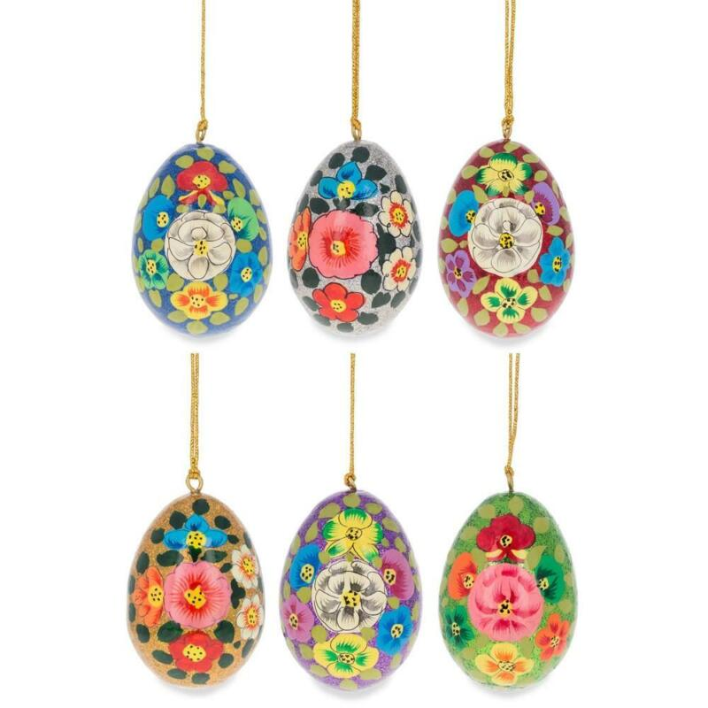 Set of 6 Multicolor Flowers Ukrainian Wooden Easter Eggs Pysanky Ornaments