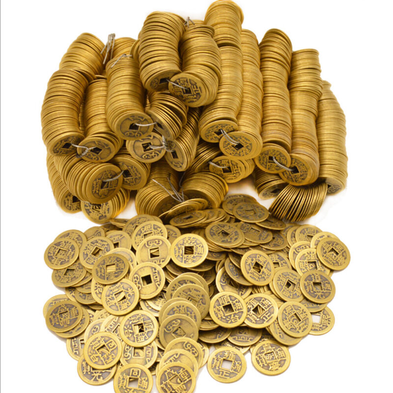 100Pcs Feng Shui  Lucky Coins Chines Mascot Coins Ancient Brass Coins Ching
