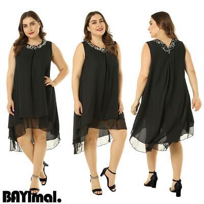 Plus Size Women Chiffon Sequin Mini Dress Ladies Casual Loose Sleeveless Dresses