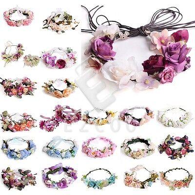 Damen Blumenkrone Blumenkranz Haarband Haarschmuck Party Hochzeit Kopfband