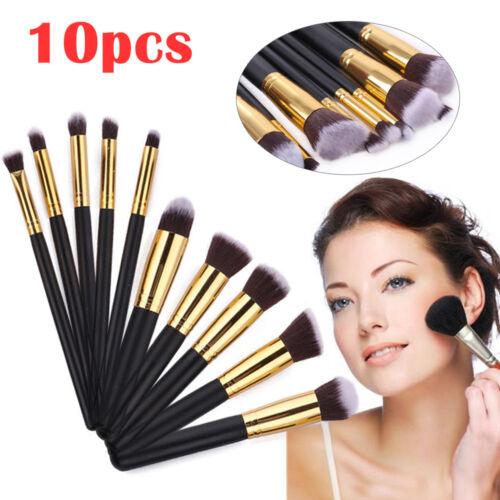 10 x Make Up Pinsel Set Foundation Kosmetik Blusher Gesichtspuder Pinsel Kit NEU