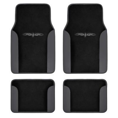Car Floor Mats Carpet Tattoo Design 2-Tone Color Liner 4 Piece Dark Gray/ Black - Lacrosse Tattoos