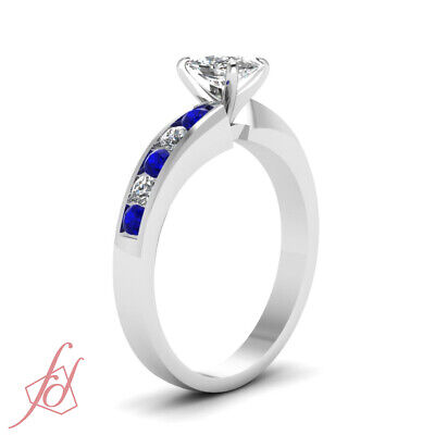 3/4 Ct Cushion Cut Diamond & Blue Sapphire Engagement Ring 14K VS1 GIA Certified 2