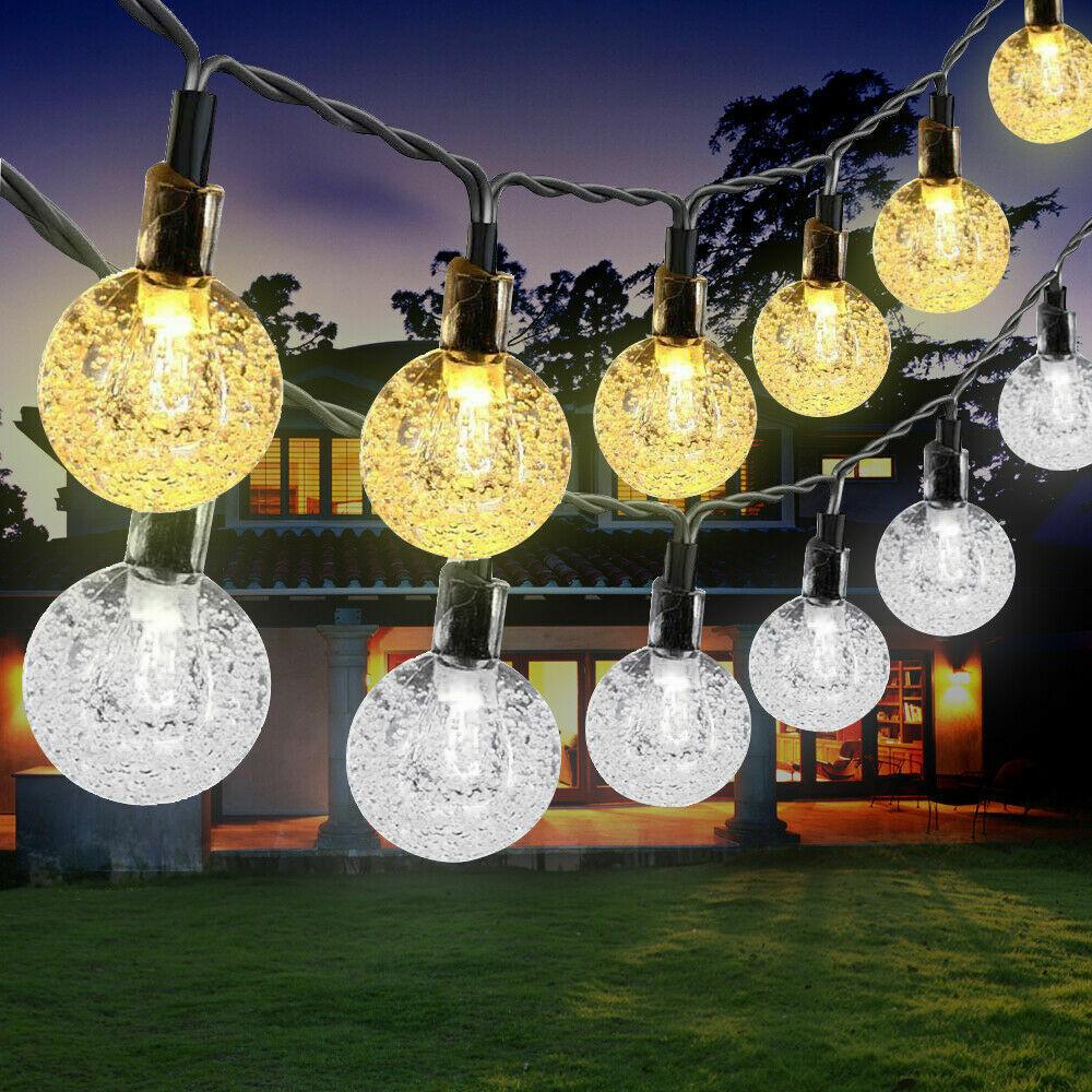 21FT Outdoor String Lights 30 LED Solar Bulb Patio Party Yard Garden Wedding Home & Garden