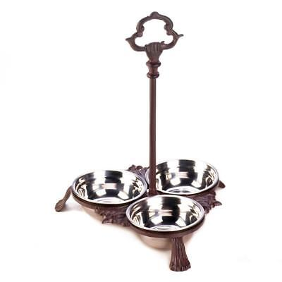EASY REACH HANDLE Cast iron stainless steel 3 BOWL WATER dog cat pet FOOD FEEDER