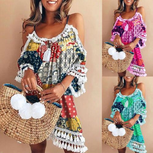 Damen Schulterfrei Quaste Sommerkleid Strandkleid Partykleid Locker Urlaub Kleid