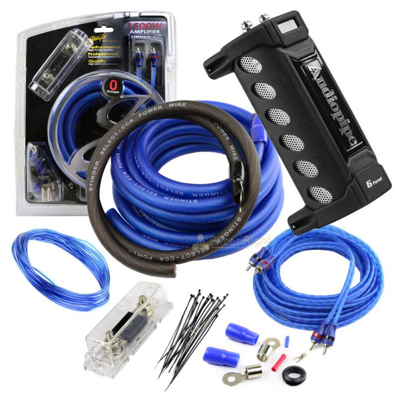 Stinger True 0 Gauge Amp Wiring Kit 1500W Watt 6 Farad Capacitor Audiopipe 12V