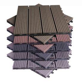 Decking Tiles Interlocking Garden Floor Boards 11PCS 30cm x 30cm x 1.8cm