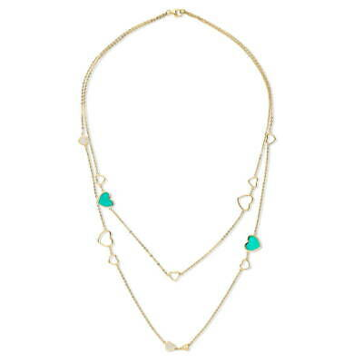 BERRICLE Gold Flashed Enamel CZ Open Heart Anniversary Wedding Layered Necklace](Flashing Heart Necklace)