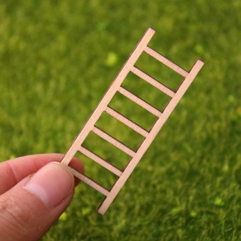3pcs Mini Wooden Step Ladder Furniture s Fairy Garden Miniat