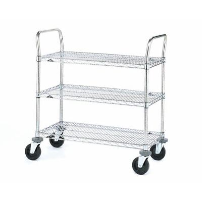 3 Chrome Plated Wire - Metro MW Chrome Plated Wire Utility Cart 3 Shelves  375 lbs Capacity